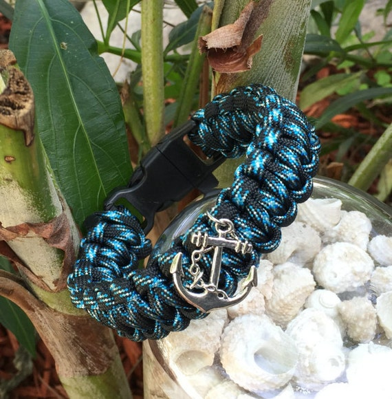 Paracord Bracelet,  nautical beach themed, combo blue and black colored cord , whistle buckled