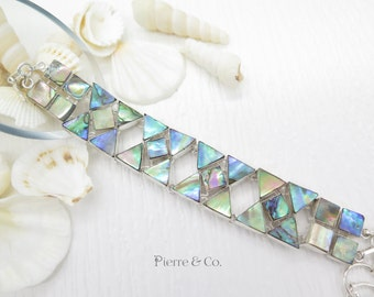 Double Layer Abalone Shell Sterling Silver Bracelet