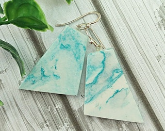 Teal swirl earrings, Abstract earrings, Geometric earrings, Clay earrings, Sterling silver, Air dry clay jewellery not polymer clay