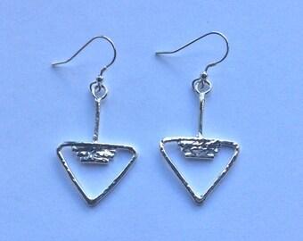 Sterling Silver Statement Earrings. Triangle Earrings. Drop Earrings. Dangle Earrings.