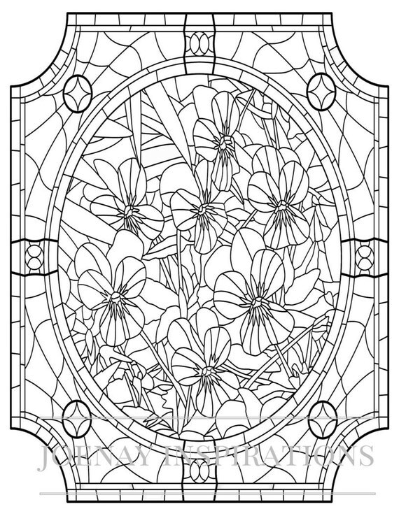Adult Coloring Book, Printable Coloring Pages, Coloring Pages, Coloring Book for Adults, Instant Download, Stained Glass page 10