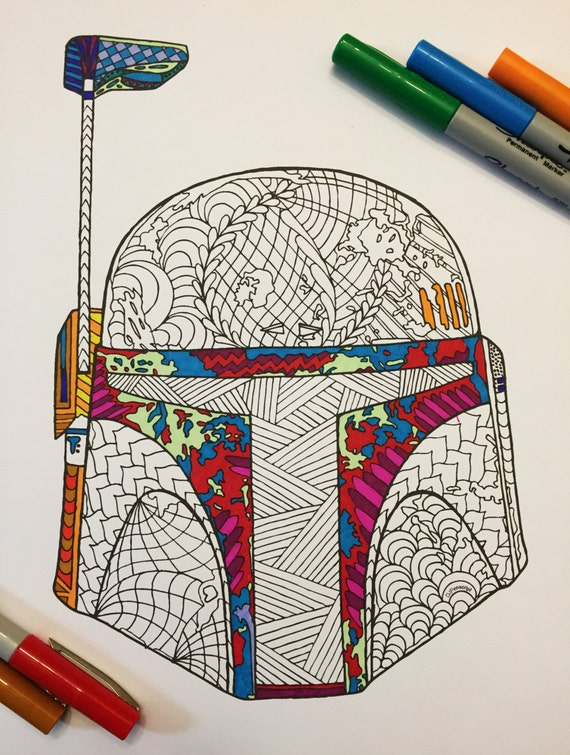 boba fett coloring pages - boba fett 39 s helmet pdf zentangle coloring page