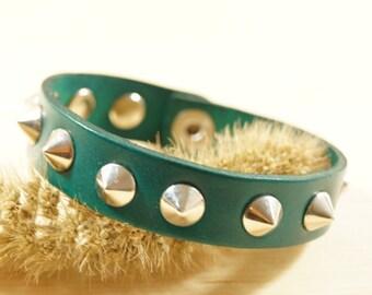 Studded Leather Bracelet in Green, Studded Green Leather Wristband, Studded Green Leather Cuff, Spartacus Bracelet