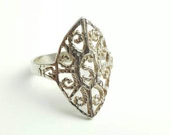 Vintage Sterling Silver Filigree Letter S Ring- Size 9
