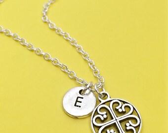 Filigree Circle Necklace, circle filigree design,Filigree charm, Filigree jewelry,personalized necklace,initial necklace, initial charm,gift