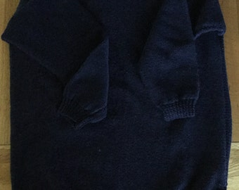womans french navy round neck hand knit tunic sweater