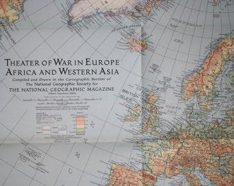 National Geographic map  Theater of War 1942 Vintage