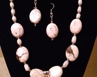 White Magnesite Beaded Jewelry Set