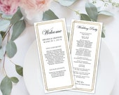"Wedding Program Editable Template | Program Printable, Ceremony Printable | Gold Border Calligraphy | 4x9"" | No. EDN 5079"