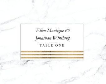 Printable Place Card Template, Wedding Place Cards, Seating Cards,  Printable Template |  Gold Stripes | No. EDN 5108