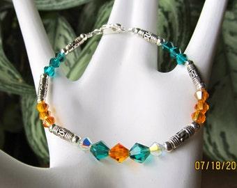 Orange and Teal Crystal Beaded Bracelet  ONE OF A KIND