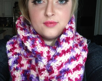 Chunky Pink and Purple Variegated Infinity Scarf