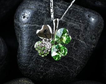 Lucky 4 Leaf Clover in Peridot Swarovski crystal necklace set in Rhodium