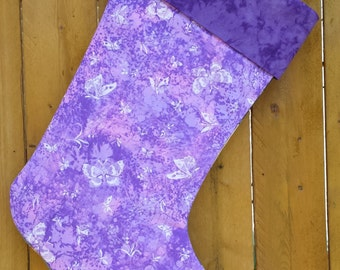 Lavender Butterflies Quilted Christmas Stocking