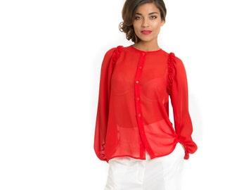 Rosette Silk Ruffle Blouse In Red