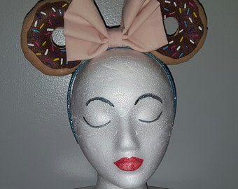 Custom Made to Order Donut Minnie Mouse Ears Headband