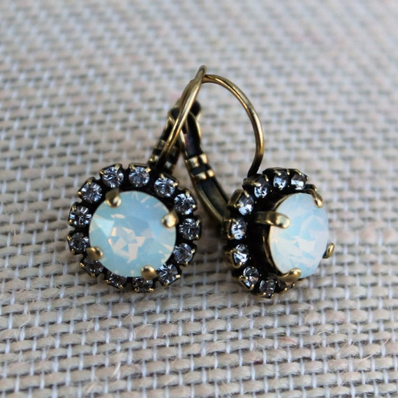 Swarovski Crystal Earrings in White Opal with Crystal Surround