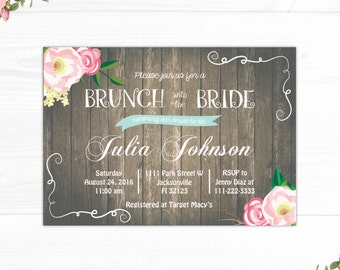 Burlap and Lace Bridal Shower invitation Bridal Brunch Invitation Rustic Invitation Wedding Shower Invitation Floral Bridal Shower Invite