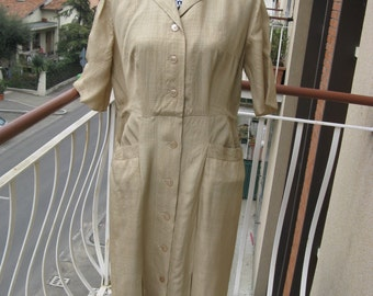 Vintage 1940s 1950s Beige Tan Silk Dress size 16