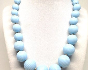 Handsome Baby Blue Vintage Estate Bead Single Strand Gold Tone Necklace