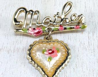 Beautiful Vintage Estate Gold Tone Enamel Mother Heart Floral Brooch
