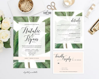 Garden Wedding Invitation Printable , Garden Wedding Stationery Suite , Leaves Wedding Invitation , Wedding Suite , Printable Wedding Suite