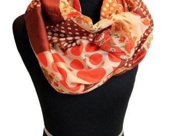 Maroon, Olive, Orange infinity scarf