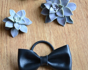 Black leather hair bow on a hair tie/ Black leather hair bow / Hair accessories for children / Black leather