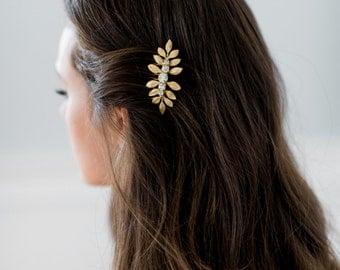 ANYA gold leaves goddess bridal comb, bohemian glamorous bridesmaid comb, delicate glam wedding hairpiece