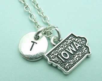 Iowa charm necklace, personalised initial necklace, initial charm necklace, letter, gift, USA