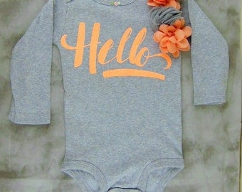 Pink Hello Onesie with Roses