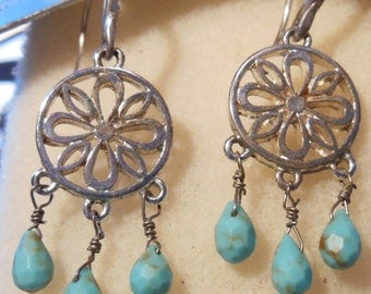 Dreamcatcher beaded earrings, torqouise dangle