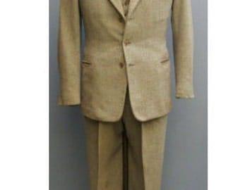 1950s Green Brown Tweed 3-piece suit / vintage / swing / rockabilly