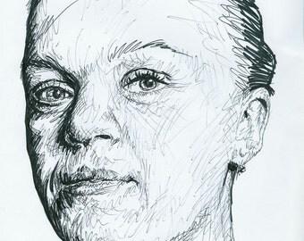 Original pen drawing of Ellie Simmonds
