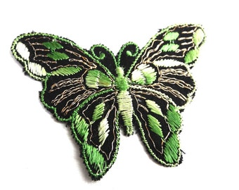 Butterfly applique, 1930s vintage embroidered applique. Vintage patch, sewing supply. Green Applique, Crazy quilt #5E8G96K5D