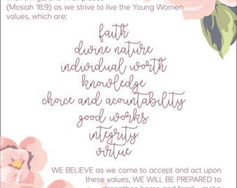 2017 LDS Mutual Theme, Young Women Theme and Young Women Values Printables