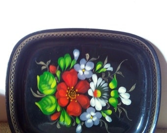 Vintage hand painted tray, black metal serving tray, russian tray with hand painted flowers