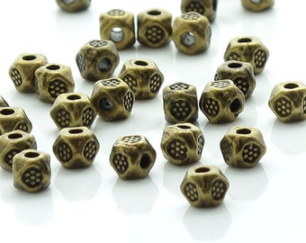 Antique Bronze Carved Dot Faceted Spacers 3.5mm 50 Beads