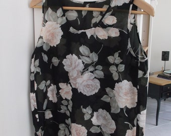 Tank top floral fabric light curtains - brand BS - size French 38 - size GB 10