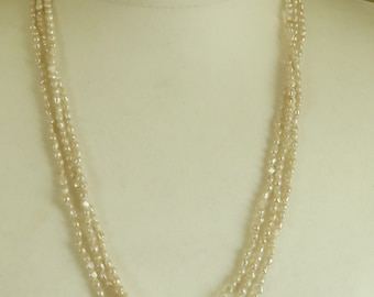 1960's Three Strand Seed Pearl Necklace