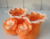 Booties, Baby booties, knitting booties, baby shoes, knitted shoes, baby gift, peach flower, ready to ship