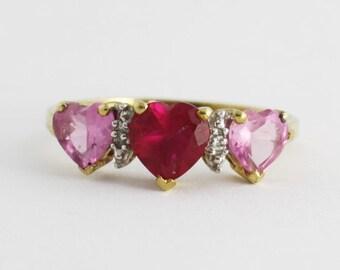 Pink Ruby Sapphire Diamond Ring, 10k Gold Heart Ruby Sapphire Ring,