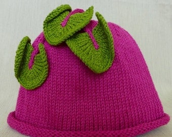 Hand-Knit ,Pink Beet, Baby or Toddler Hat