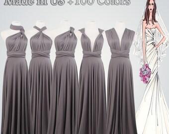 Set of 5 Bridesmaid Gifts,Set of 5,Gray Dress Gifts,Bridesmaid Gift,Grey Dress,Long dress,Custom Gifts,5 Bridesmaid Dress