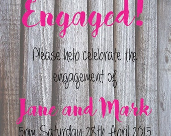 Wooden Look Engagement Invite PRINTABLE ONLY