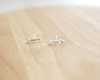 Arrow Stud Earrings, Arrow Ear Studs, Arrow Earrings, Sterling Silver Arrow Earrings, Arrow Post, Arrow Jewelry