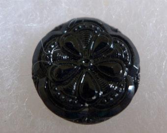 2 Czech glass buttons - black - 22mm