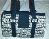 Doctor's Bag in Cream, Black and White Ovals