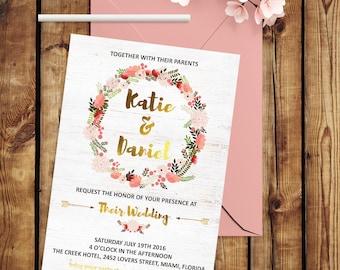 Blush Wedding Invitation Garden Wedding Invitation Printable Wedding Invitation Set Boho Wedding Invitation Watercolor Floral Wedding Invite