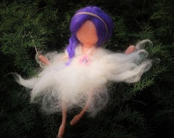 Christmas decoration, Wool Fairy Dancer, sitting needle felted fairy, Fairy miniature, Waldorf Wool Fairy, Waldorf Nursery Decor